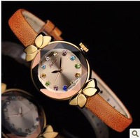 women famous  luxury brand julius JA-627 leather strap   rhinestone dress watch