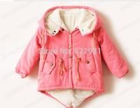 Baby Winter Thick Berber Fleece Outerwear, Kids Wadded Jacket, Boys girls Fur Hoody Coat, Children Casual Clothing Parkas