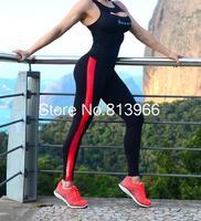 2014 Brand New Fashion Women's Stripe Sport Patchwork Gym Yoga High Waist Neon Cotton Leggings Elasitc Jeggings
