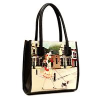Women Leather Handbags PU 2014 New Designers Brand Vintage Printing Handbag Oil Painting Shoulder Bags Small Tote Women Desigual