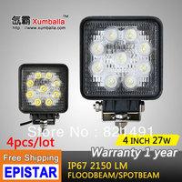 "Free Shipping 4pcs/lot 4"" 27W  LED Work Light led epistar flood 27w led tractor light atv led off road light 4x4 for Motorcycle"