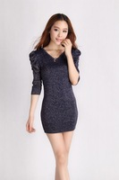 2013 new women's autumn gold sweater long section of Korean temperament Slim thin section rendering package hip sweater