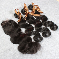 Factory Outlet brazilian virgin hair with lace closure body wave 4pc lot  free shipping