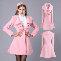 2014 Hot Sale Korean Princess Wool Trench Overcoat For Women Turn Down Collar Dress Style Fleece Blazer 4Colors Plus Size nz160