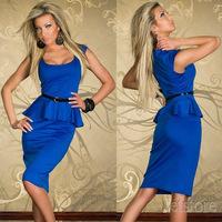 106CM Elegant Women Lady Blue Sexy New Fashion OL Peplum Long Knee-length Dress Party Bodycon office Work Dresses With Belt 8972