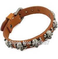 Best selling  Men's Skull Leather Wrap Bracelets genuine Leather Jewelry Handmade braided bracelet unisex free shipping S030