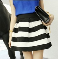 High quality European & American Fashion womens zipper stripe kintted high waist tutu skirt umbrella skirts ladies mini skirts