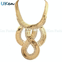 Fashion Rhinestone Glossy Interlocking Scales Flake Twisted Chunky Chain Necklace Christmas Jewelry Gold and Gun Black Color