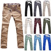 Fashioin  New Stylish Mens Casual Slim Straight Leg Chino Long High Quality Cotton Pants Trousers 3 Colors M-XXXL