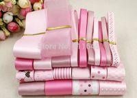 25 meters/ set fashion pink series satin / grosgrain/cotton lace ribbon DIY hand made ribbons set