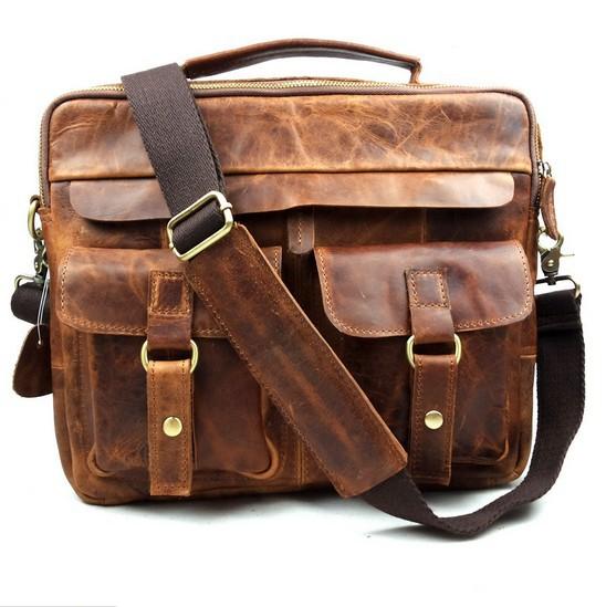 100% Cowhide leather bags men bu