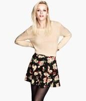 2014 New Women Super match Three Dimensional Painting Skirt Ladies Flower  Prints Cute Mini Skirt SK3057-O03
