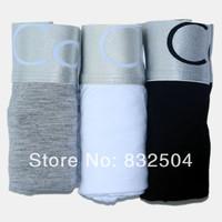 Men's colour Black White Grey (3pcs/lot) Nice quality Men's underwear men modal boxer shorts Sexy mens boxers Size M/L/XL/XXL