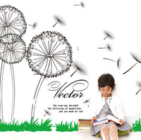 Hot Selling Fly Dandelion Flower Wall Stickers for Living Room Vinyl Wall Decal Art DIY Home Decor Stickers 60x90cm E2013012