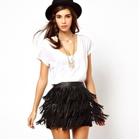 FREE SHIPPING new fashion 2014 women's Autumn winter Sweet sexy three layers PU leather tassels lined with short skirts