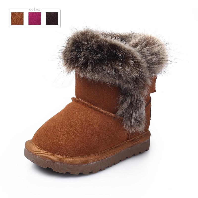 Echt leer kinderen snowboots baby winter sneeuw laarzen voor meisjes