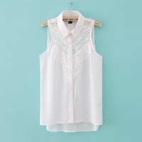 Europe and America sexy lace stitching chiffon lapel sleeveless shirt solid color blouses blusas camisa free shipping