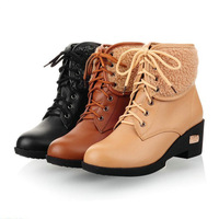 European style women motorcycle boots,square heels woman snow boots,winter thermal fur ankle boots shoes for female,WB116