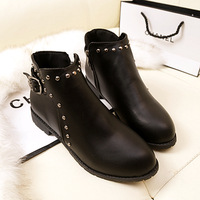2013 autumn and winter fashion cotton boots fashion vintage rivet flat heel women's shoes martin boots motorcycle boots