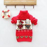 Children's clothing female child sweater male child plus velvet thickening turtleneck sweater basic kt cat