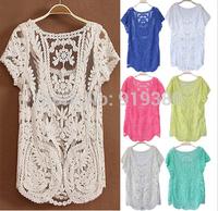 New casual women blouses shirts blusas femininas 2014 women blusa renda roupas woman clothing Embroidery tops pullover sweater
