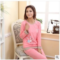 Autumn new cotton pajamas for women cartoon cute sleepwear pyjamas home clothes female costume dressing gown sleep lounge set G4