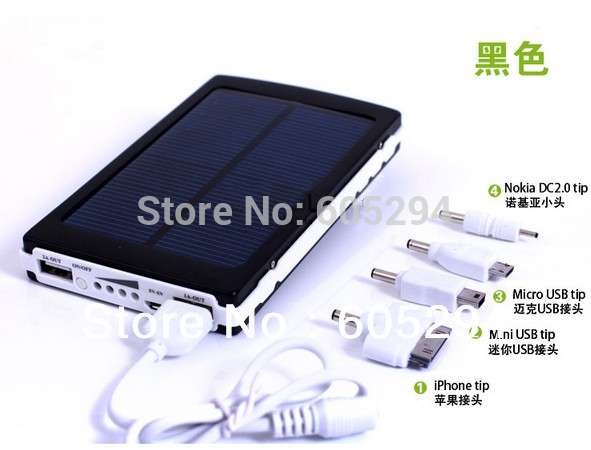 Free Shipping Black 30000mAh Solar Mobile Power Bank Backup sun Battery cargador Solar Charger for Mobile Phone charger(China (Mainland))