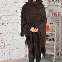 new 2014 ultra long thickening scarf turtleneck thermal rabbit fur all-match cloak capes with tassels for women