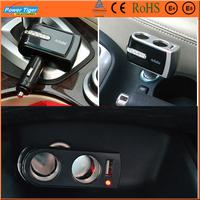 2014 New Car Styling DC12V / 24V TO 220V 2 Way Twin Socket USB Car Cigarette Lighter Socket Splitter Charger Adapter WF-201