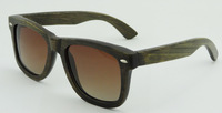2014 Fashion Hand Made Round Wayarfer Bamboo Made Polarized Sunglasses Brown Frame With smoke lens only