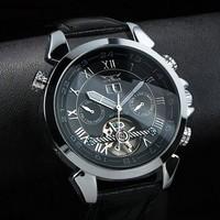 2013 brand  JARAGAR fashion  mechanical watch, men sports  leather strap Casual watch