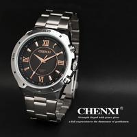New 2014 Golden  Quartz Full Steel Watches Military Man Sports Watches Original Box Gift For Men Roman Numerals  027C