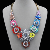 J C shourouk Multicolor rainbow flower Crystal Rhinestone Big Chunky Necklaces & pendants spike Statement Collar Womens Jewelry