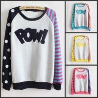 Pow! New 2015 Casual Women Hoody Flocking Fleece Sweatshirt Dot Stripe Fashion Girls Sport Suit Autumn Hoodies Moleton Feminino