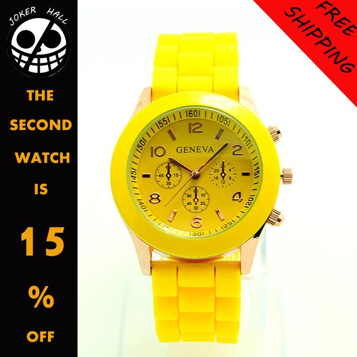 Hot sale rhinestone watches women dress christmas gifts watch gold brand geneva silicone jelly sport wristwatches free shipping(China (Mainland))