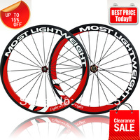 ChristmasSale MOST LIGHT WEIGHT bicycle wheels carbon wheels50mm clincher tubular Novatec hub quick release  spokes