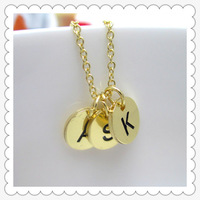 Women Fashion letter necklace, THREE Initials GOLD Necklace Customize Monogram Necklace, initial letter necklace