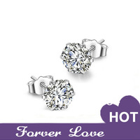 wholesale! 5A Colorful CZ Diamond Stud Earring Fashion Hot 925 Sterling Silver lovers earrings anti-allergic Free shipping