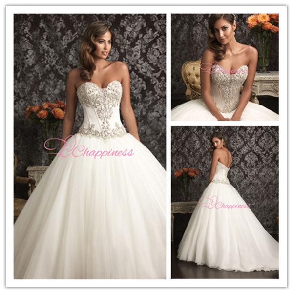 Fashion Wedding Dress Bridal Gown Sweetheart Floor Length Wedding Dresses Plus Size(China (Mainland))