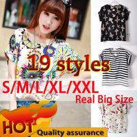 Hot Tropical Blouses Shirt 19 Styles Flower Print Plus Size Summer Fashion Women Tops Clothing Batwing Shirt Blusas Femininas
