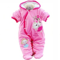 On Promotion! New Baby Winter Thick Romper Child Boys Cartoon Home Wear Baby padded Coat with Hooded  Cotton warm outwear