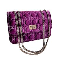 2013 New Fashion Velvet fabric Le Boy neutral wind messenger chain bags,brand desinger diamond women pu Tote Clutch bag handbag
