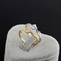 2014 new arrival  Two Gilded Charming  Rings Jewelry With white zircon  yilia