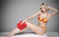 free shipping  fashion women's Bikini wrapped chest bikini swimsuit chest with pad strip care two piece (bra+swim trunks)