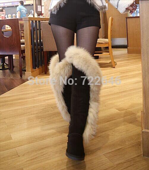 Ginocchio- lunghezza stivali stivali di pelliccia di volpe alta- stivali gamba sexy doposci stivali di pelle di mucca