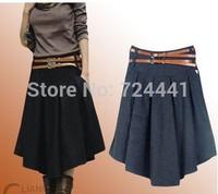 Skirts Women 2014 Autumn Winter Mid-Calf Wool Skirt  Plus Size Women Thicken Pleated Skirts Vintage Irregular Skirts With Belt