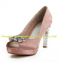 Rhinestone bridal shoes peep toe wedding shoes