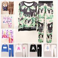 2014 Autumn New Women's Sweatshirt Set Camouflage Skull Print Pullovers,Women Hoody Set,3D Leapord Harajuku Tracksuits For Women