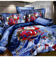 christmas Gift Santa Claus unique 3d bedding set queen size doona duvet cover quilts bedclothes bed sheet Linen sets fast ship