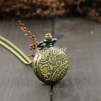 Retro Vintage Bronze Steampunk Eiffel Tower Hollow Quartz Necklace Pendant Chain Clock Pocket Watch b23 18825